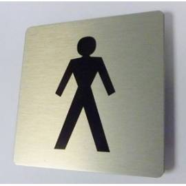 Pictogram Toilet heren Aluminium RVS look