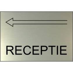 Aanduidingsbord met routepijl Receptie Aluminium RVS look
