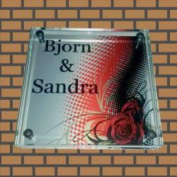 Glazen Naambord bjorn & sandra