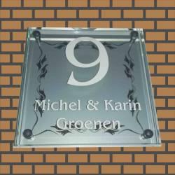 Glazen Naambord Michel & Karin met kader